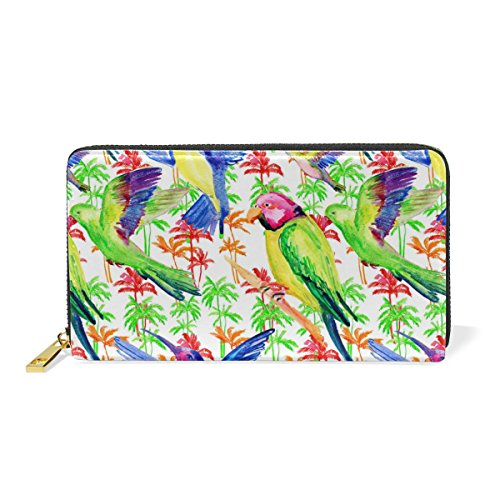 Around Purses Womens Leather Palm Watercolor Wallet Zip Trees And Handbags TIZORAX Organizer Clutch Parrot And 8ZOpATx