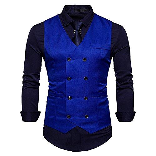 Men's Vintage Slim Fit Solid Color Double-Breasted Suit Vest V-Neck Dress Waistcoat for Wedding Nightclub (Dark Blue, M) Breasted Suit Coat