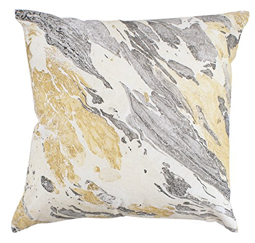 (Contemporary Black and Gold Porto Marble Print Pillow, 18