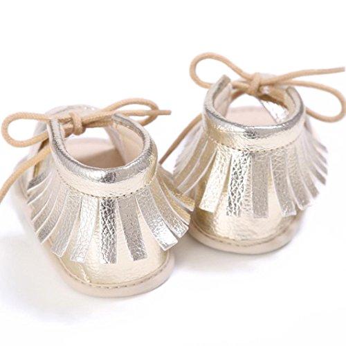 Zapatos de bebé, Switchali Recién nacido bebe niña verano Princesa zapatos Niñas Cuna Suela blanda Antideslizante Zapatillas borla vestir casual Calzado de deportes Sandalias Oro