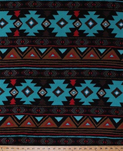 Fleece Peace Stripe Stripes Southwest Southwestern Turquoise Brown Red Aztec Fleece Fabric Print by the Yard (46374-2b)]()