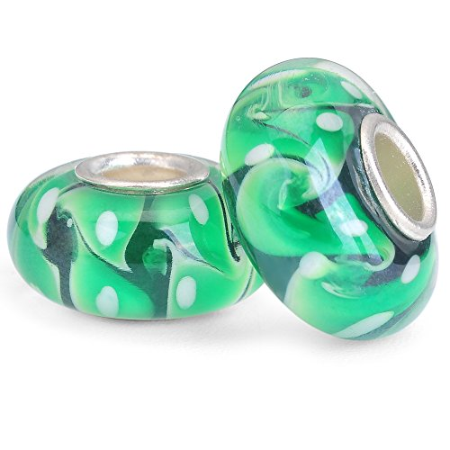 RUBYCA Green Murano Glass Charm Beads Silver Color Core fit European Bracelet for Jewelry Making 6pcs