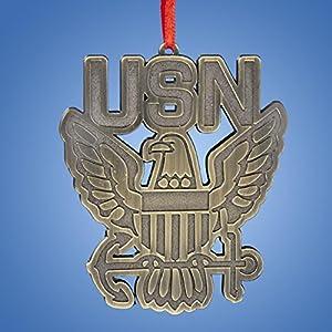 "3.5"" Patriotic U.S. Navy ""USN"" Eagle On Anchor Christmas Ornament"