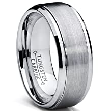 Metal Masters Co.® 9MM High Polish / Matte Finish Men's Tungsten Ring Wedding Band Sizes 6 to 15