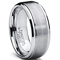 Metal Masters Co.® 9MM High Polish / Matte Finish Mens Tungsten Ring Wedding Band Sizes 6 to 15