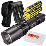 Nitecore TM03 Super Bright 2800 Lumens Cree XHP70 LED Flashlight PLUS 2x Dedicated IMR 18650 Rechargeable High-Drain Batteries, Nitecore UM20 2-Port Digital Charger, & LumenTac Battery Organizer