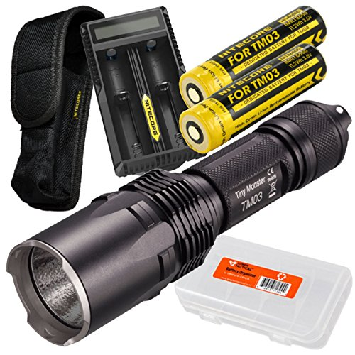 Nitecore TM03 Super Bright 2800 Lumens Cree XHP70 LED Flashlight PLUS 2x Dedicated IMR 18650 Rechargeable High-Drain Batteries, Nitecore UM20 2-Port Digital Charger, & LumenTac Battery Organizer by Nitecore