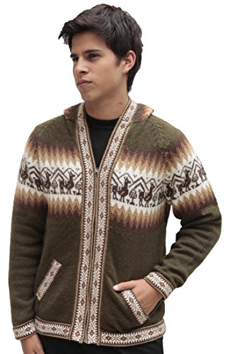Mens Alpaca Wool Knitted Jacket Hooded Hood Sweater - Little Llamas Design (L, Leaf Green) -