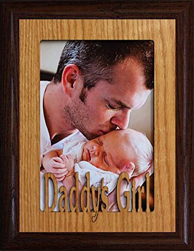 JoyceBoyce.com 5x7 Daddy's Girl ~ Portrait Oak Mat with Frame ~ Holds a 4x6 or Cropped 5x7 Picture ~ Wonderful Keepsake Gift to Dad for Christmas or Birthday! (Walnut) - Oak Frame Holds