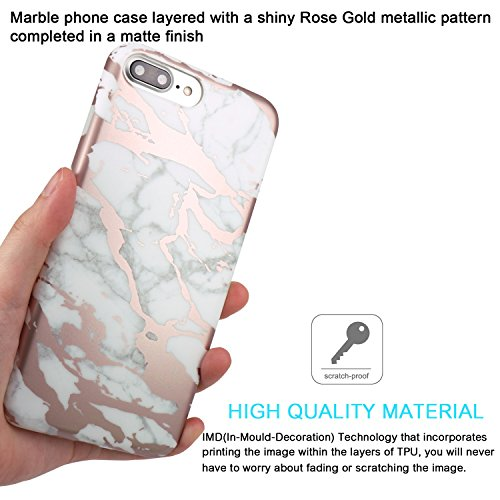 iPhone 7 plus Hülle, JIAXIUFEN Glänzend Rose Gold Big Lines Marmor Serie Flexible TPU Silikon Schutz Handy Hülle Handytasche HandyHülle Etui Schale Case Cover Tasche Schutzhülle für iPhone 7 plus