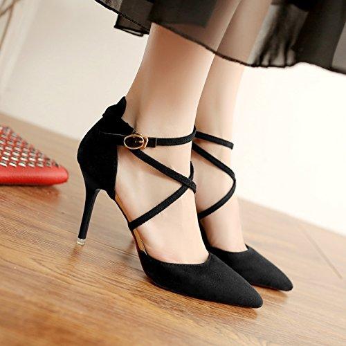 scarpe strap Baotou Qiqi Xue stiletto sandali donna nero da Hollow tacco 38 punta tacco a pompe Suede qE8UY