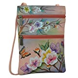 Anuschka Women's Genuine Leather Hand Painted Double Zip Travel Crossbody Bag | Japanese Garden
