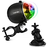 LightMe LED Waterproof USB Rechargeable Bicycle Stage Lights, RGB Colorful Rotating Crystal Magic Disco Ball Lamp for Outdoor KTV Club Party Wedding Holiday(Black-update)