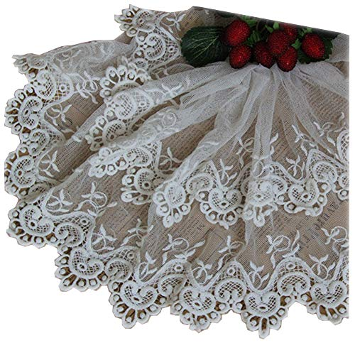 Beautiful By Design Ivory 3 Yards Grace Double Layers Cotton Embroidered Lace Trim Ribbon Dress Edge Craft Lace Home Curtains Accessory 9 Inches Wide