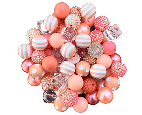20mm Coral & Peach Mix 30 Count Chunky Bubble Gum Acrylic Beads Bulk Wholesale Pack Necklace Kit -