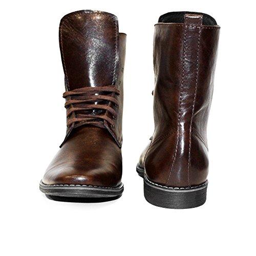 PeppeShoes Modello Hiti - Handgemachtes Italienisch Leder Herren Braun Hohe Stiefel - Rindsleder Weiches Leder - Schnüren
