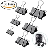 130 Pc Assorted Size Binder Clips +100 Bonus Paper Clips - 6 Sizes Paper Clamp - Sturdy Container Included (Black)