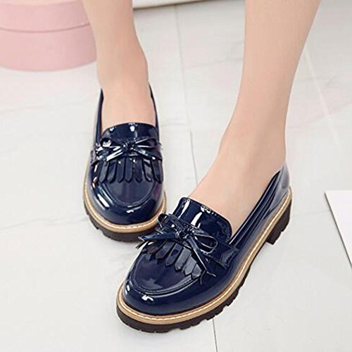 Mofri Low Slip on Women's Shoes Toe Oxfords Loafers Blue Bow Round Trendy Top Low Fringes Heel rrzP7S