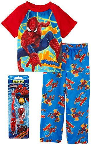 Spiderman Little Boys Pajama and Toothbrush Gift Set, Toddler Sizes 2T-4T Size 2T