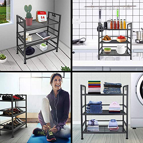 EKNITEY Kitchen Shelving,Adjustable Kitchen Baker\'s Rack Microwave Oven Stand Utility Metal Storage Shelf with Hooks(3-Tier)