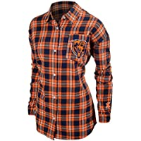 FOCO NFL Women's Wordmark Flannel Shirt (Medium,Chicago Bears)