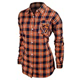 KLEW NFL Chicago Bears Women's Wordmark Basic Flannel Shirt, Small, Blue