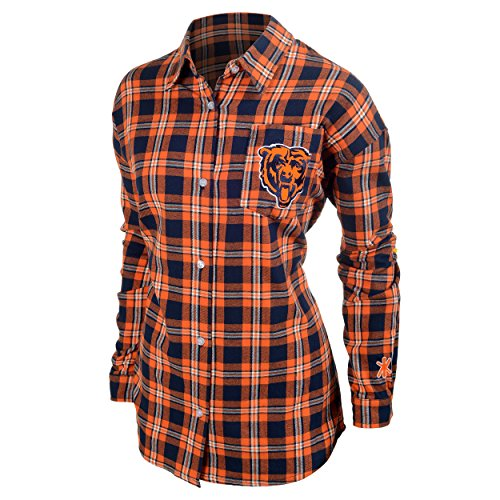 Chicago Bears Womens Wordmark Basic Flannel Shirt Small
