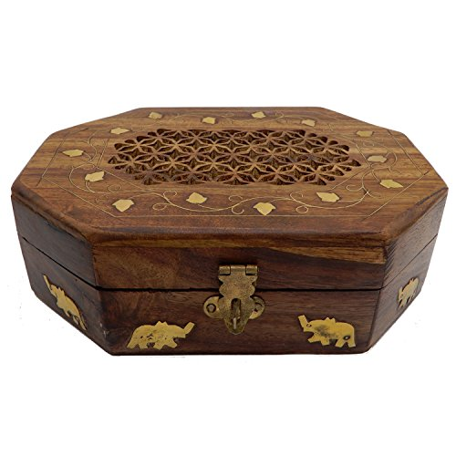 Wooden Inlay Work - IndiaBigShop Wooden Jewelery Box, Inlay Work Octal Shape Storage Box,Vintage Box 7X5, Gift for Christmas or Birthday