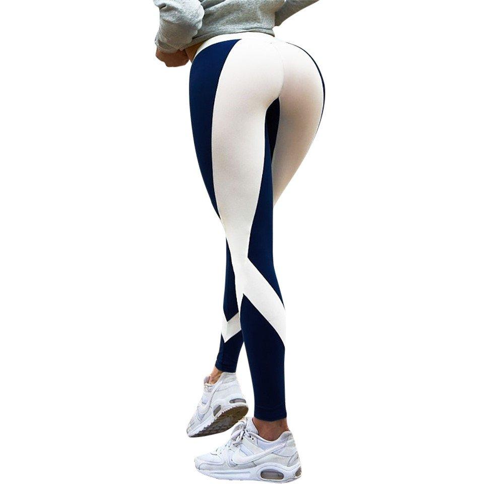 Womens Pants,Women's Leggings for Women Sport Gym Yoga Pants Mid Waist Colorblock Striped Elastic Fitness Running Pants Blue