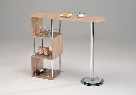 Meubletmoi Tavolino Alto Da Bar Piano Di Lavoro In Legno E Metallo Con Ripiani Portaoggetti Da Cucina Amazon It Casa E Cucina