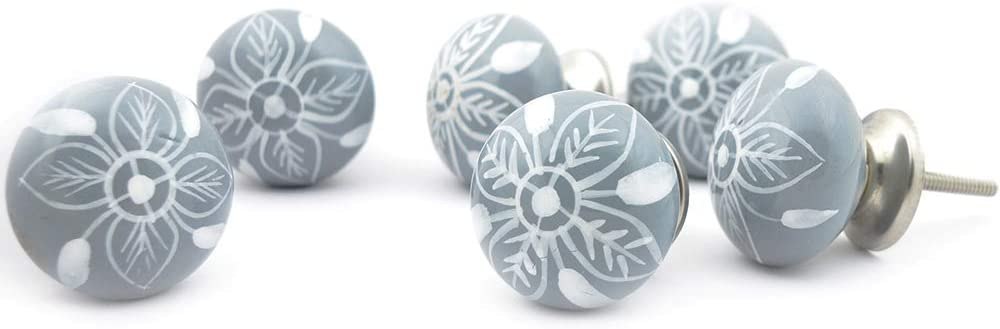 White and Grey Ceramic Door Knobs Vintage Shabby Chic Cupboard Drawer Pull Handles Lot of 20 Pcs