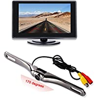 Backup Camera and Monitor Kit for Car,4.3 TFT LCD Monitor with170 degree Wide Angle Waterproof License Plate Backup Camera-Swivel Angle Adjustable