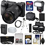 Sony Alpha A6300 4K Wi-Fi Digital Camera & 18-135mm Lens (Black) 32GB Card + Lenses + Flash + Battery + Charger + Tripod + Kit