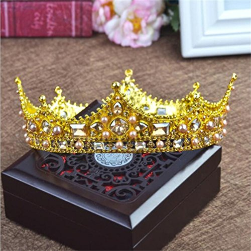 Crowns For Kings And Queens (FUMUD Baroque Vintage Black Rhinestone Beads Round Big Crown Wedding Hair Accessories Luxury Crystal Queen King Crowns Bridal Tiaras (Gold))