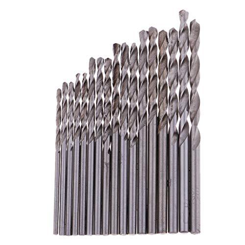 Hellery 17xハンドドリルビットマイクロミニツイストドリルビットセットの交換((1.6-3.2mm)