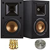 Klipsch R-14M Reference Bookshelf Monitor Speakers Bundle includes Speaker Pair (2 Speakers), 100ft of Select Series 16AWG Speaker Wire and 5-Pair Brass Speaker Banana Plugs Open Screw Type