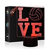 I Love Volleyball 3D Lamp Illusion Night Light, Gawell 7 Color Changing Touch Switch Table Desk Decoration Lamps Gift Acrylic Flat & ABS Base & USB Cable Creative Toy for Awesome Gift