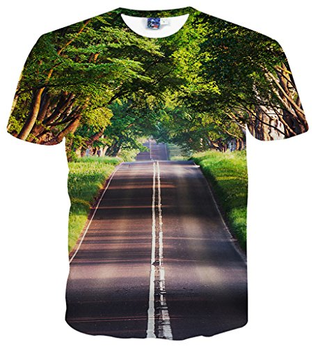 PIZOFF Unisex Casual Short Sleeve Crew Neck Road Screen 3D Graphic Print T-Shirts