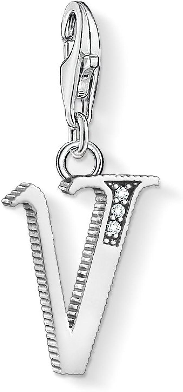 Geschw/ärzt 1602-643-21 THOMAS SABO Unisex Charm-Anh/änger Buchstabe V Silber 925er Sterlingsilber