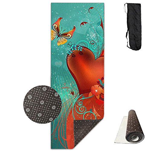 Non Slip Yoga Mat Love Heart Clipart Background Premium Printed 24 X 71 Inches Great For Exercise Pilates Gymnastics Carrying Strap -