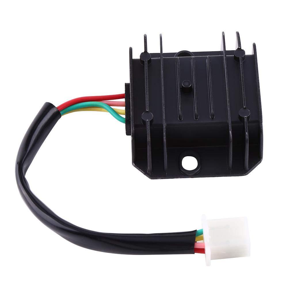 Regulador de voltaje de la motocicleta 4 cables 4 pines 12 regulador de voltaje rectificador para 150-250CC motocicleta ciclomotor ATV(Blanco) Keenso