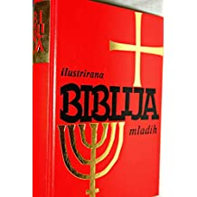 Large Croatian Illustrated Family Bible / Red Hardcover with Golden Cross and Lamp Stand / Contains Full Color Illustrations / Ilustrirana Biblija Mladih