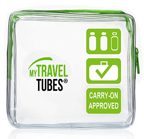 TSA Approved 3-1-1 Airline Carry On Clear Travel Toiletry Bag | Quart Sized (Single Greenery, Clear Green)