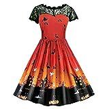 TWGONE Womens Dresses Fashion Halloween Lace Short Sleeve Retro Evening Party Dress