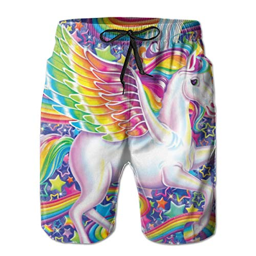 YongColer Men's Cargo Short, Big & Tall Half Pants, Summer Loose Essentials Board Shorts, Quick Dry Beach Gym Surf Rainbow Unicorn Stars Comfort Shorts Swimwear/Regular Extended Size