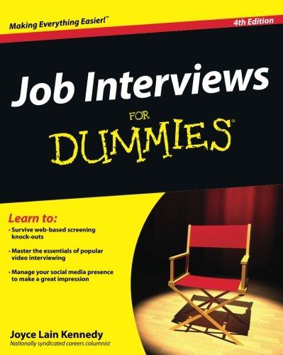 Amazing Job Interviews For Dummies: Joyce Lain Kennedy: 9781118112908: Amazon.com:  Books