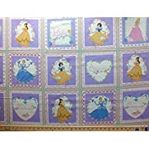 """34.5"""" X 44"""" Panel Disney Princess Princesses Belle Aurora Cinderella Snow White Names Titles Words Fairy Tale Magical Squares Roses Birds Hearts Pink Purple Kids Cotton Fabric Panel by the Panel (1021)"""