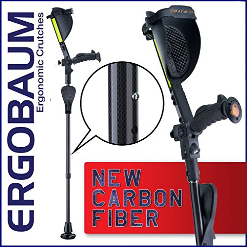 Ergobaum¨ Prime by Ergoactives. 1 Pair (2 Units) of Ergonomic Forearm Crutches - Adult 5' - 6'6'' Adjustable (Carbon Fiber) ()