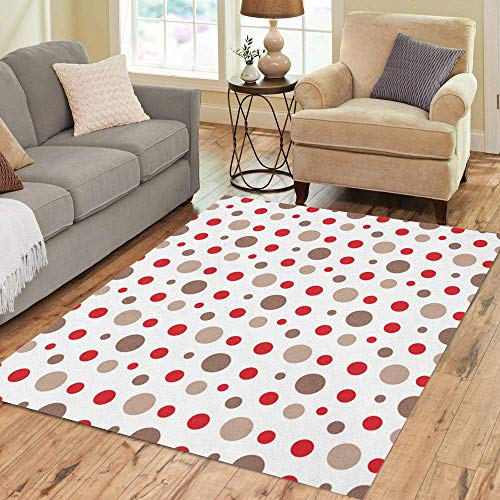 Colorful Sock Monkeys - Semtomn Area Rug 3' X 5' Colorful Baby Red Brown White Circles Pattern Monkey Sock Home Decor Collection Floor Rugs Carpet for Living Room Bedroom Dining Room