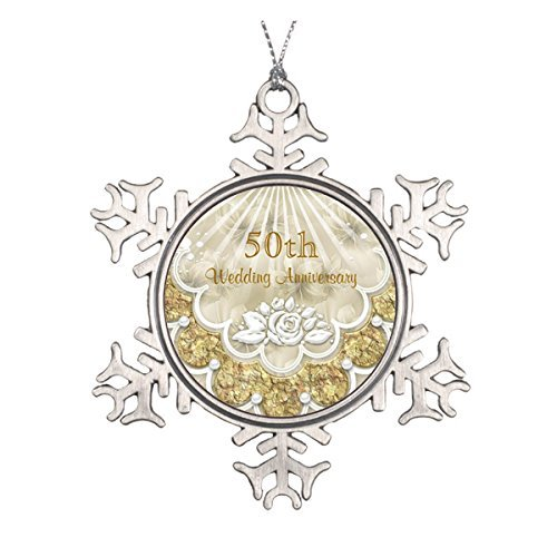 LilithCroft99 Roses and Laces 50Th Wedding Anniversary Pewter Snowflake Christmas Ornaments,Christmas Tree Decorations Ornaments,Keepsake,Novelty]()
